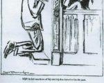 Een tekening die Louis Raemaeker in 1938 maakte in overleg met Van Doorne bij diens hoofdartikel in De Telegraaf