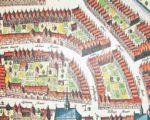 De 17e eeuwse stadsplattegrond van Tiel met (boven str van Achterstraat) de achteruitgang van De Wildeman.