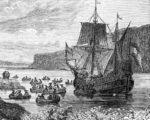 De aankomst van Hudson aan de Amerikaanse oostkunst volgens een 19e eeuwse tekening