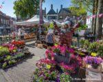 Tiel, 07 mei. De warenmarkt deels verplaatst naar de Groenmarkt promenade ivm Giro.