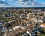 Tiel, 17 januari. Luchtfoto bouwplaats cultuurcentrum Westluidense Poort WLP.