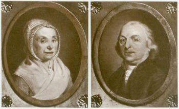 Maria Cornelia Bonebakker-van Oosterhoudt (1734-1820) en haar echtgenoot Anthonij Bonebakker (1730-1797) afbeeldingen uit Gedenkboek