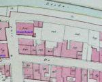 Een deel van de kadasterkaart van 1833 met de plaats waar het grote woonhuis van Dirk van Oosterhoudt stond
