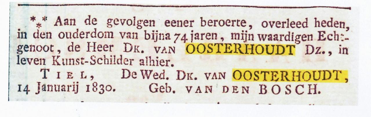 overlijdensadvertentie uit 1830