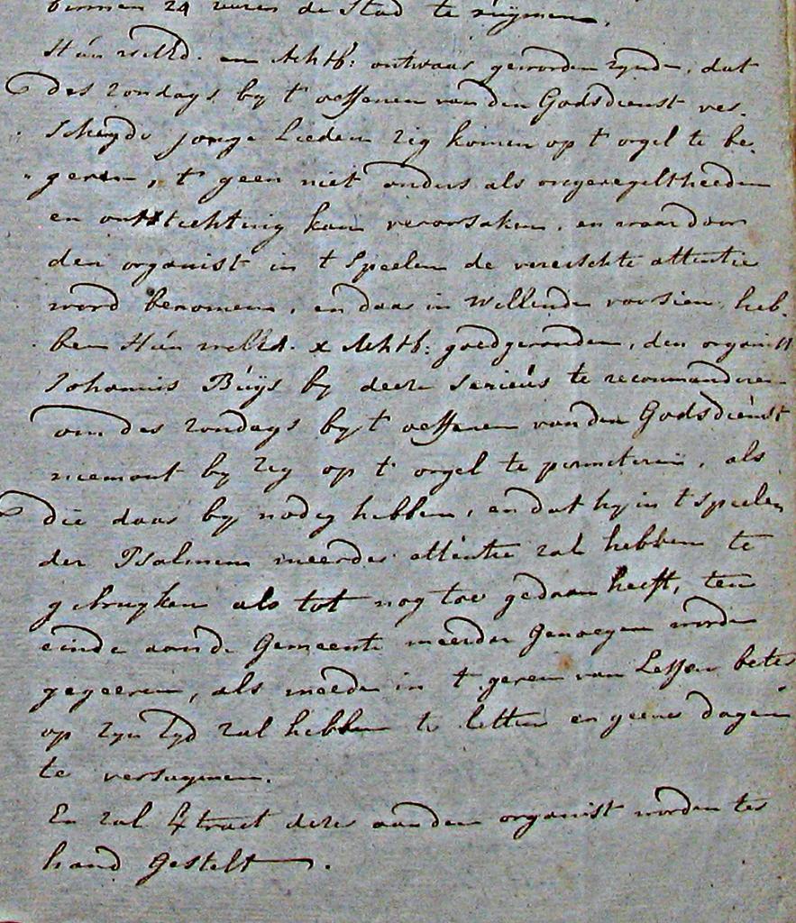1791 De magistraat kapittelt de organist